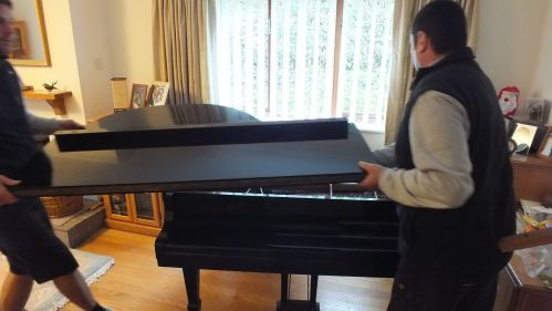Starting to remove items from the piano